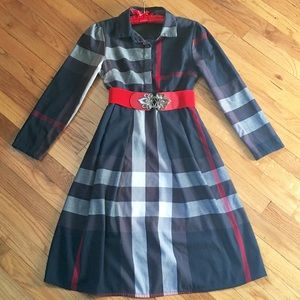 Beautiful Navy Red Plaid Tunic Dress